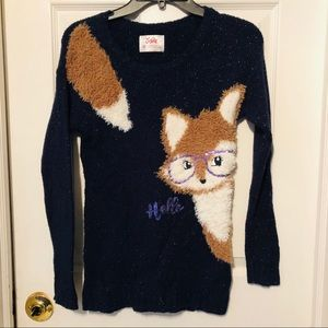 Navy sparkly fox justice sweater